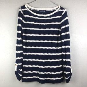 Jones New York Navy Blue and white stripe sweater